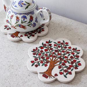 陶製の鍋敷きは、イチジクやチューリップなどトルコの陶磁器でよく使われるモチーフが描かれています